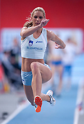 SNEZANA RODIC (SLOVENIA) COMPETES IN WOMEN'S TRIPLE JUMP QUALIFICATION DURING EUROPEAN ATHLETICS INDOOR CHAMPIONSHIPS PARIS 2011 AT BERCY HALL...PARIS , FRANCE , MARCH 04, 2011..( PHOTO BY ADAM NURKIEWICZ / MEDIASPORT )..PICTURE ALSO AVAIBLE IN RAW OR TIFF FORMAT ON SPECIAL REQUEST.