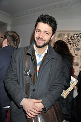 CONRAD SHAWCROSS at a private view of art works by Annie Morris entitled 'There is A Land Called Loss' held at Pertwee Anderson & Gold Gallery, 15 Bateman Street, London W1 on 2nd February 2012.
