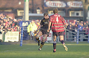 Gloucester, Gloucestershire, UK., 04.01.2003, Simon SHAW, with a chip over the head of Rob FIDLER,   during, Zurich Premiership Rugby match, Gloucester vs London Wasps,  Kingsholm Stadium,  [Mandatory Credit: Peter Spurrier/Intersport Images],