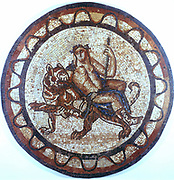 Bacchus, Ancient Roman god of Wine (Dionysius in Greek pantheon) riding on a tiger. Roman mosaic of 1st or 2nd century AD. British Museum, London