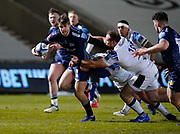 Sale Sharks AJ McGinty makes break during a Gallagher Premiership Round 9 Rugby Union match, Friday, Feb 12, 2021, in Leicester, United Kingdom. (Steve Flynn/Image of Sport)
