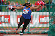 Eden Francis competing in the Women's Discus Throw Final. The British Championships 2016, athletics event at the Alexander Stadium in Birmingham, Midlands  on Sunday 26th June 2016.<br /> pic by John Patrick Fletcher, Andrew Orchard sports photography.