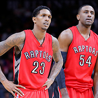 27 December 2014: Toronto Raptors guard Louis Williams (23) is seen next to Toronto Raptors forward Patrick Patterson (54) during the Toronto Raptors 110-98 victory over the Los Angeles Clippers, at the Staples Center, Los Angeles, California, USA.