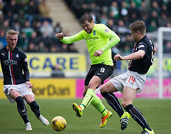 Falkirk's Craig Sibbald, Hibernian's Grant Holt and Falkirk's Peter Grant. Falkirk 1 v 2 Hibernian, Scottish Championship game played 31/12/2016 at The Falkirk Stadium .