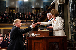 FEBRUARY 5, 2019 - WASHINGTON, DC: President Donald Trump delivered the State of the Union address, with Vice President Mike Pence and Speaker of the House Nancy Pelosi, at the Capitol in Washington, DC, USA on February 5, 2019. Photo by Doug Mills/Pool via CNP/ABACAPRESS.COM