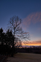 Winter Backyard Dawn Sky in New Jersey. Image 1 of 8 taken with a Fuji X-T1 camera and 16 mm f/1.4 lens (ISO 200, 16 mm, f/8, 1/60 sec). Raw images processed with Capture One Pro and the composite generated using AutoPano Giga Pro.