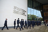 The Uruguay rugby team arrive.Uruguay 2015 World Cup team welcoming ceremony at the Royal Welsh College of Music and Drama in Cardiff, Wales.on Monday 14th Sept 2015.<br /> pic by Andrew Orchard, Andrew Orchard sports photography.