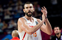 Marc Gasol of Spain celebrates after winning during basketball match between National Teams of Spain and Turkey at Day 11 in Round of 16 of the FIBA EuroBasket 2017 at Sinan Erdem Dome in Istanbul, Turkey on September 10, 2017. Photo by Vid Ponikvar / Sportida