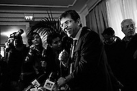 """Napoli, Italia - 22 gennaio 2013: Nicola Cosentino, il leader campano del Pdl escluso dalle liste elettorali e a rischio carcere per concorso esterno in associazione mafiosa, convoca una conferenza stampa all'Hotel Excelsior a Napoli, il 22 gennaio 2013.NAPLES, ITALY - 22 JANUARY 2013:  Nicola Cosentino (53), regional coordinator of Silvio Berlusconi's People of Freedom party and former undersecretary of the Ministry of Economy of the Berlusconi IV Cabinet, holds a press conference the day after he was excluded from the lists of candidates for the 2013 Italian general elections, at the Hotel Excelsior in Naples, on January 22 2013. Nicola Cosentino, investigated over Mafia association in the Campania region, clashed with national coordinator of the party Denis Verdini and secretary Angelino Alfano. Cosentino stresses that the decision was taken at the last moment to avoid his retaliation. Silvio Berlusconi admitted that leaving his """"best friends"""" out was difficult but stated it was necessary for political reasons: """"we will now regain two and a half million votes, mostly in the north"""". In 2010  Naples' anti-mafia magistrates commission sent to the Italian Chamber of Deputies the request for the arrest for Cosentino, but the Chamber's commission refused. In 2010 Cosentino was also involved in a scandal related to wind energy systems in Sardinia, which led to the discovery of the so-called nuova P2 or P3 (""""new Propaganda 2 or P2″) . The P2  was a secret masonic lodge of the 1970s-early 1980s, of which Berlusconi was then a member. <br /> <br /> A general election to determine the 630 members of the Chamber of Deputies and the 315 elective members of the Senate, the two houses of the Italian parliament, will take place on 24–25 February 2013. The main candidates running for Prime Minister are Pierluigi Bersani (leader of the centre-left coalition """"Italy. Common Good""""), former PM Mario Monti (leader of the centrist coalition """"With Monti for Italy"""") and former PM Si"""