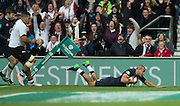 Twickenham, United Kingdom. Jonathan JOSEPH, touches down to score a first half try during the Old Mutual Wealth Series Rest Match: England vs Fiji, at the RFU Stadium, Twickenham, England, Saturday  19/11/2016<br /><br />[Mandatory Credit; Peter Spurrier/Intersport-images]