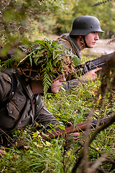 """Reenactors Portaying members of the Panzergrenadier-Division """"Feldherrnhalle"""" take part in a private battle on Ellington Banks training area Near Ripon<br /> 09 October2021<br /> <br /> www.pauldaviddrabble.co.uk<br /> All Images Copyright Paul David Drabble - <br /> All rights Reserved - <br /> Moral Rights Asserted -"""