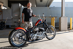 Billy Aaron with Hard On, his 1939 Harley-Davidson ULH  80 ci Flathead rigid chopper after the Handbuilt Show. Austin, Austin USA. Sunday, April 14, 2019. Photography ©2019 Michael Lichter.