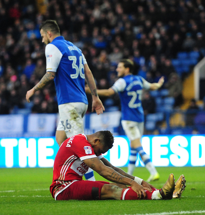 Middlesbrough's Britt Assombalonga reacts after missing a first half chance<br /> <br /> Photographer Chris Vaughan/CameraSport<br /> <br /> The EFL Sky Bet Championship - Sheffield Wednesday v Middlesbrough - Saturday 23rd December 2017 - Hillsborough - Sheffield<br /> <br /> World Copyright © 2017 CameraSport. All rights reserved. 43 Linden Ave. Countesthorpe. Leicester. England. LE8 5PG - Tel: +44 (0) 116 277 4147 - admin@camerasport.com - www.camerasport.com