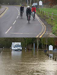 ©Licensed to London News Pictures  <br /> Yalding ,UK. Comparison picture showing Flood waters receding from the River Medway and River Beult in Yalding today 28/12/2019 (TOP) and at their height a week ago on 21/12/2019 (BOTTOM).  Photo credit: Grant Falvey/LNP