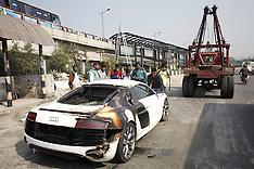 Bangladesh - Audi R8 Caught Fire in Dhaka - 13 Jan 2017