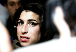 Amy Winehouse backstage at the Ivor Novello Awards, at the Grosvenor House Hotel in cental London.