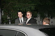 DAVID FURNISH AND SIR ELTON JOHN, Sir David and Lady Carina Frost annual summer party, Carlyle Sq. London. 5 July 2007  -DO NOT ARCHIVE-© Copyright Photograph by Dafydd Jones. 248 Clapham Rd. London SW9 0PZ. Tel 0207 820 0771. www.dafjones.com.