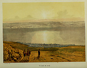 Tiberias and Sea of Galilee from the book Scenes in the East : consisting of twelve coloured photographic views of places mentioned in the Bible, with descriptive letter-press. By Tristram, H. B. (Henry Baker), 1822-1906; Published by the Society for Promoting Christian Knowledge (Great Britain) in London in 1872