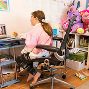 Brooklyn during first period Home Room. She's in virtual school that from her bedroom.
