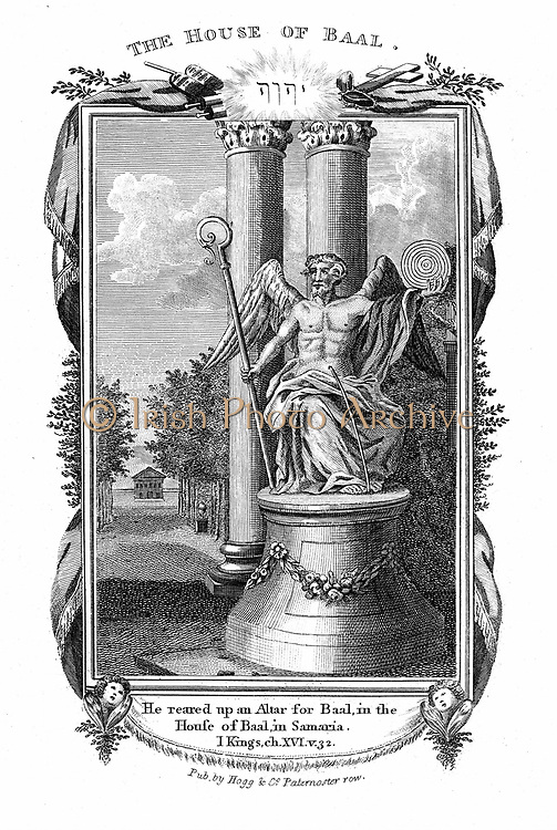 Baal, god of fertility and king of the gods of the Canaanites.  'He reared up an altar  for Baal, in the house of Baal , in Samaria'. I Kings 16:32  From evangelical 'Bible' published c.1804. Engraving.
