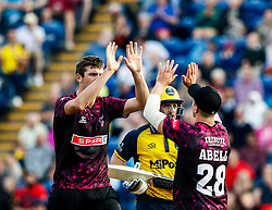 Craig Overton of Somerset celebrates taking the wicket of David Lloyd of Glamorgan with team-mate Tom Abell<br /> <br /> Photographer Simon King/Replay Images<br /> <br /> Vitality Blast T20 - Round 1 - Glamorgan v Somerset - Thursday 18th July 2019 - Sophia Gardens - Cardiff<br /> <br /> World Copyright © Replay Images . All rights reserved. info@replayimages.co.uk - http://replayimages.co.uk