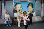 Budapest, Hungary, June 14, 2012, Advertising at the busstop. PHOTO © Christophe Vander Eecken