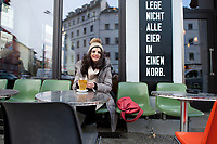 04 JAN 2012, BERLIN/GERMANY:<br /> Shermin Voshmgir, Filmemacherin und Gruenderin des Start-ups cinovu.com, Cafe Oberholz, Rosenthaler Platz<br /> IMAGE: 20120104-01-008