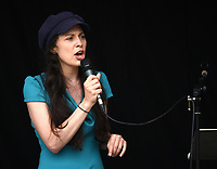 Amelia Womack Green Party deputy leader  speaking at The People's Assembly protest london . photo by Krisztian Elek