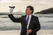 Bill Cullen pictured with Colm Healy of Skelligs Chocolates on St.Finian's Beach, Ballinskelligs, County Kerry.<br /> Picture by Don MacMonagle
