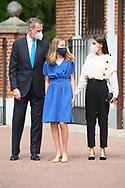 King Felipe VI of Spain, Queen Letizia of Spain, Crown Princess Leonor attends for The Confirmation of Princess Leonor at Asuncion de Nuestra Senora Church  on May 28, 2021 in Madrid, Spain