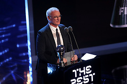 Claudio Ranieri presents the award for FIFA Mens Coach of the Year during the Best FIFA Football Awards 2017 at the Palladium Theatre, London.