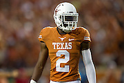 AUSTIN, TX - SEPTEMBER 14: Kendall Sanders #2 of the Texas Longhorns looks on against the Mississippi Rebels on September 14, 2013 at Darrell K Royal-Texas Memorial Stadium in Austin, Texas.  (Photo by Cooper Neill/Getty Images) *** Local Caption *** Kendall Sanders