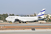 Israel, Ben-Gurion international Airport El-Al Boeing 747-400 passenger jet ready for takeoff