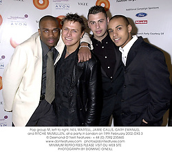 Pop group M, left to right, NEIL MARTELL, JAMIE CALLIS, GARY EMANUEL and RITCHIE McMULLEN, at a party in London on 19th February 2002.OXS 3
