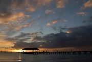 Sunset at the Hanalei Pier on the island of Kauai, Hawaii.
