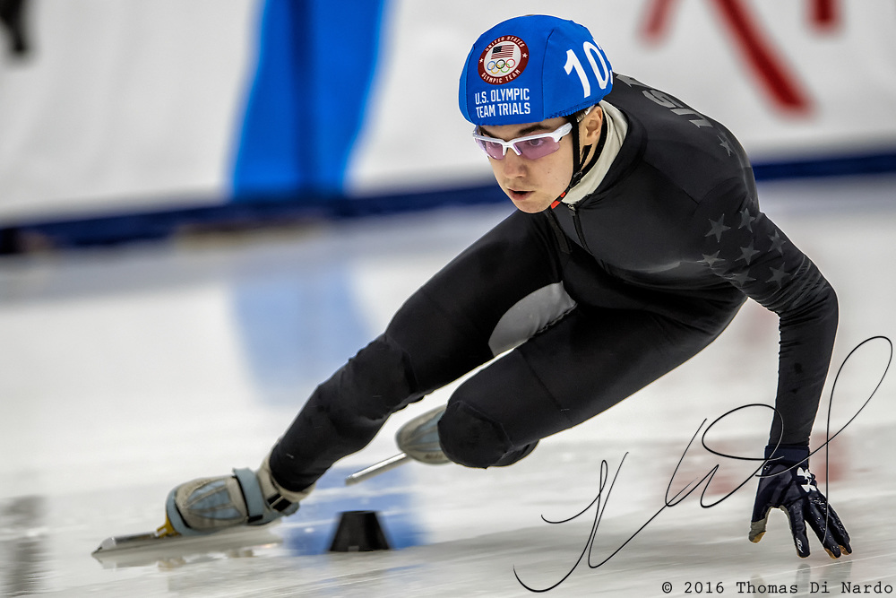 December 15, 2017 - Kearns, Utah - Ryan Pivirotto competes in the 1500 meter distance during US Speedskating Short Track speed skating Olympic Trials at the Utah Olympic Oval.