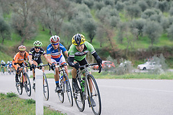 Shelley Olds attacks the climb - 2016 Strade Bianche - Elite Women, a 121km road race from Siena to Piazza del Campo on March 5, 2016 in Tuscany, Italy.