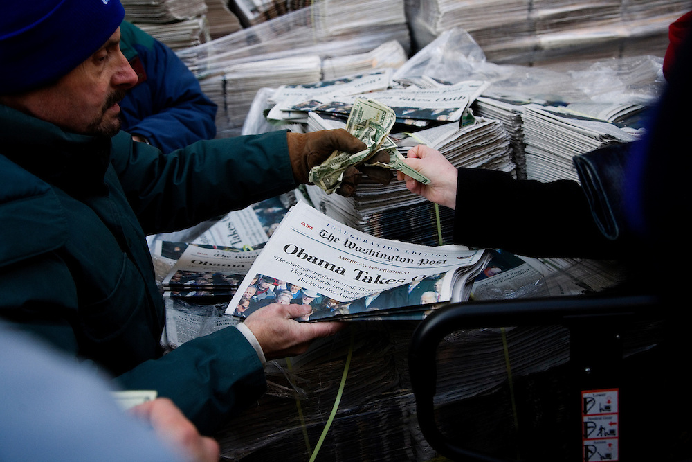 The Inauguration of President Barack Obama. Washington DC, January 20, 2009. Special Inauguration edition of the Washington Post newspaper sold outside of the Verizon Center immediately following the Inaugural events.