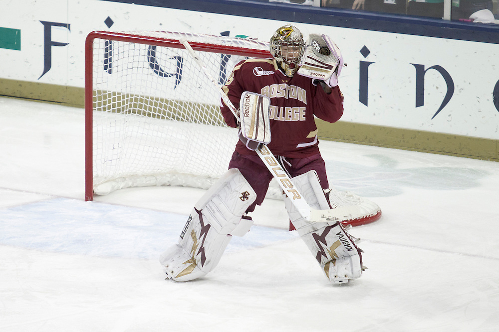 Boston College goaltender Parker Milner (#35) makes save in action during NCAA hockey game between Notre Dame and Boston College.  The Notre Dame Fighting Irish defeated the Boston College Eagles 3-2 in game at the Compton Family Ice Arena in South Bend, Indiana.