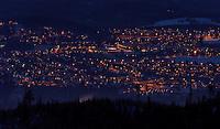 Trondhaim by night, view from Estenstadmarka