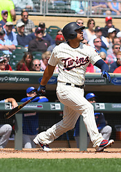 May 2, 2018 - Minneapolis, MN, U.S. - MINNEAPOLIS, MN - MAY 02: Minnesota Twins Infield Eduardo Escobar (5) hits a fly ball during a MLB game between the Minnesota Twins and Toronto Blue Jays on May 2, 2018 at Target Field in Minneapolis, MN.The Twins defeated the Blue Jays 4-0.(Photo by Nick Wosika/Icon Sportswire) (Credit Image: © Nick Wosika/Icon SMI via ZUMA Press)