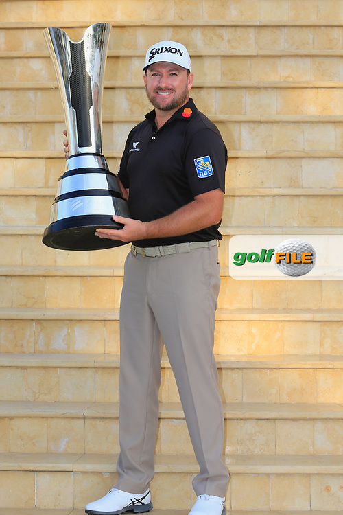Graeme McDowell (NIR) holds the trophy after the final round of  the Saudi International powered by Softbank Investment Advisers, Royal Greens G&CC, King Abdullah Economic City,  Saudi Arabia. 03/02/2020<br /> Picture: Golffile | Fran Caffrey<br /> <br /> <br /> All photo usage must carry mandatory copyright credit (© Golffile | Fran Caffrey)