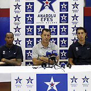 Turkish Basketball team Anadolu Efes's head coach Ufuk SARICA (C) Sasha Vujacic (R) and Tarence KINSEY during their press conference at Anadolu Efes sports hall in Istanbul Turkey on Tuesday 23 August 2011. Photo by TURKPIX