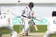 Wicket! Harry Brook of Yorkshire bowled by Fidel Edwards of Hampshire during the opening day of the Specsavers County Champ Div 1 match between Yorkshire County Cricket Club and Hampshire County Cricket Club at Headingley Stadium, Headingley, United Kingdom on 27 May 2019.