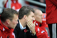 Michael Laudrup the Swansea City Manager at the start of the game.<br /> Barclays Premier League match, Cardiff city v Swansea city at the Cardiff city stadium in Cardiff, South Wales on Sunday 3rd Nov 2013. pic by Phil Rees, Andrew Orchard sports photography,
