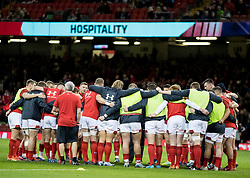 Wales team huddle during the pre match warm up<br /> <br /> Photographer Simon King/Replay Images<br /> <br /> Under Armour Series - Wales v Australia - Saturday 10th November 2018 - Principality Stadium - Cardiff<br /> <br /> World Copyright © Replay Images . All rights reserved. info@replayimages.co.uk - http://replayimages.co.uk