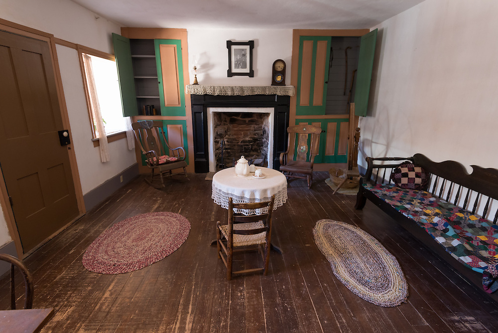 Living room in Winsor Castle, a historical house at Pipe Springs National Monument, Arizona.