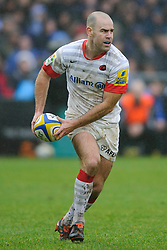 Saracens Fly-Half (#10) Charlie Hodgson passes during the first half of the match - Photo mandatory by-line: Rogan Thomson/JMP - Tel: Mobile: 07966 386802 22/12/2012 - SPORT - RUGBY - The Recreation Ground - Bath. Bath Rugby v Saracens - Aviva Premiership.