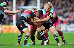 Taione Vea of London Welsh takes on the Harlequins defence - Photo mandatory by-line: Patrick Khachfe/JMP - Mobile: 07966 386802 04/10/2014 - SPORT - RUGBY UNION - London - The Twickenham Stoop - Harlequins v London Welsh - Aviva Premiership