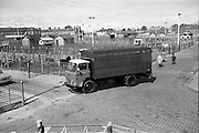 18/05/1966<br /> 05/18/1966<br /> 18 May 1966<br /> Austin Trucks special. Austin cattle truck at The Dublin Cattle Market, Prussia Street, Dublin.